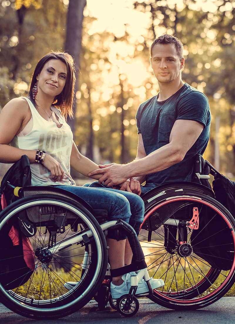 Happy disabled couple